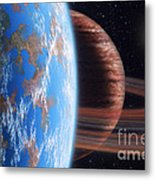 Hd 177830 B And Moon Metal Print by Lynette Cook