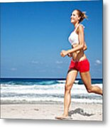 Healthy Woman Running On The Beach Metal Print by Anna Omelchenko