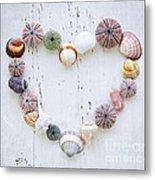 Heart Of Seashells And Rocks Metal Print by Elena Elisseeva