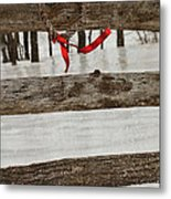 Heart-shape Wreath With Red Ribbon On Fence Metal Print by Sandra Cunningham