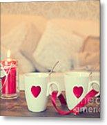 Heart Teacups Metal Print by Amanda Elwell