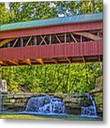 Helmick Mill Or Island Run Covered Bridge  Metal Print by Jack R Perry