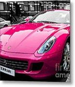 Her Pink Ferrari Metal Print by Matt Malloy