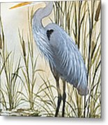 Heron And Cattails Metal Print by James Williamson