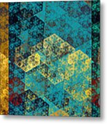 Hexagon Fractal Art Panorama Metal Print by Andee Design