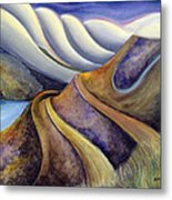 Highway With Fog Metal Print by Jen Norton