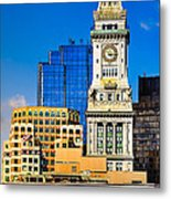 Historic Custom House Clock Tower - Boston Skyline Metal Print by Mark E Tisdale