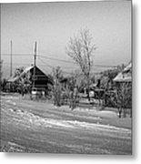 hoar frost covered street in small rural village of Forget Saskatchewan Canada Metal Print by Joe Fox