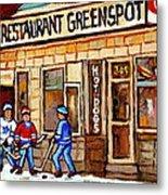 Hockey And Hotdogs At The Greenspot Diner Montreal Hockey Art Paintings Winter City Scenes Metal Print by Carole Spandau