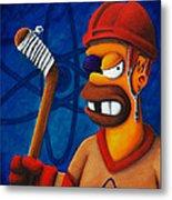 Hockey Homer Metal Print by Marlon Huynh