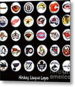 Hockey League Logos Bottle Caps Metal Print by Barbara Griffin