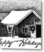 Holiday Barn Metal Print by Joy Bradley
