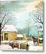 Home To Thanksgiving Metal Print by Currier and Ives