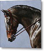 Horse Painting - Discipline Metal Print by Crista Forest
