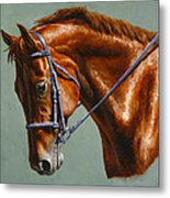Horse Painting - Focus Metal Print by Crista Forest