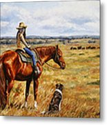 Horse Painting - Waiting For Dad Metal Print by Crista Forest