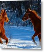 Horses At Play Metal Print by Tracy Winter