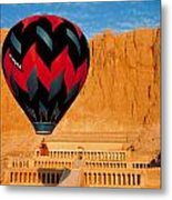 Hot Air Balloon Over Thebes Temple Metal Print by John G Ross