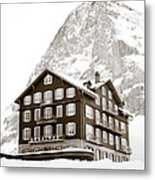 Hotel Des Alpes And Eiger North Face Metal Print by Frank Tschakert