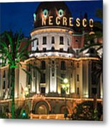 Hotel Negresco By Night Metal Print by Inge Johnsson