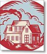 House Homestead Cottage Woodcut Metal Print by Aloysius Patrimonio