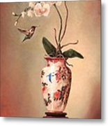 Hummingbird And White Orchid Metal Print by Lori  McNee
