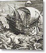 Hunting Sea Creatures Metal Print by Jan Van Der Straet