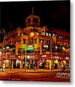 Huntington Beach Downtown Nightside 1 Metal Print by Jim Carrell