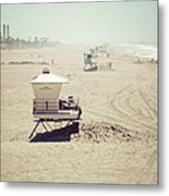 Huntington Beach Lifeguard Tower #1 Vintage Picture Metal Print by Paul Velgos