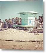 Huntington Beach Lifeguard Tower #5 Retro Picture Metal Print by Paul Velgos