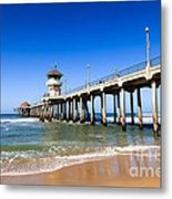 Huntington Beach Pier In Southern California Metal Print by Paul Velgos