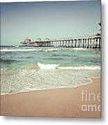 Huntington Beach Pier Vintage Toned Photo Metal Print by Paul Velgos