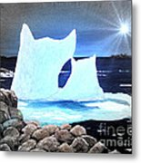 Icebergs At Sunset Metal Print by Barbara Griffin