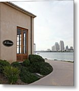 Il Fornaio Italian Restaurant In Coronado California Overlooking The San Diego Skyline 5d24364 Metal Print by Wingsdomain Art and Photography