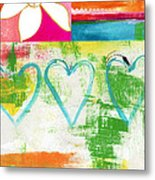 In Bloom- Colorful Heart And Flower Art Metal Print by Linda Woods