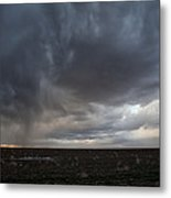 Incoming Storm Over A Cotton Field Metal Print by Melany Sarafis