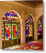 India, Stained Glass Windows Of Fort Metal Print by Bill Bachmann