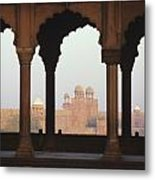 India, View Of Red Fort From Jama Metal Print by Richard Maschmeyer