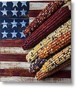 Indian Corn On American Flag Metal Print by Garry Gay