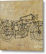 Indian V-twin 1914 Metal Print by Pablo Franchi