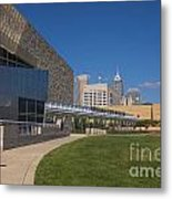 Indiana State Museum And Indianapolis Skyline Metal Print by David Haskett