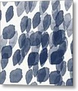 Indigo Rain- Abstract Blue And White Painting Metal Print by Linda Woods