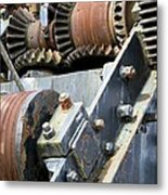 Industrial Cogs And Pulley Wheels Metal Print by Science Photo Library