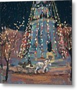 Indy Monument Lights Metal Print by Donna Shortt