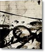 Ink And Paint On Vintage Ledger Paper Metal Print by Carol Leigh