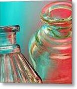 Ink Bottles On Color Metal Print by Carol Leigh