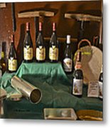 Inside The Wine Cellar Metal Print by Allen Sheffield