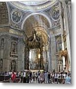 Interior Of St Peter's Dome. Vatican City. Rome. Lazio. Italy. Europe Metal Print by Bernard Jaubert