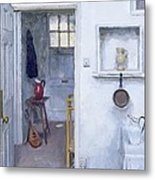 Interior With Red Jug Metal Print by Charles E Hardaker