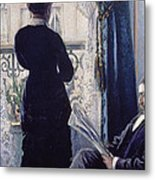 Interior Woman At The Window Metal Print by Gustave Caillebotte